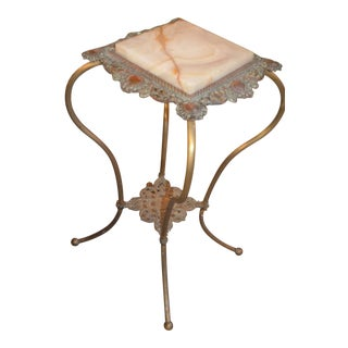 Antique Victorian Onyx Marble Top and Brass Lower Shelf Table For Sale