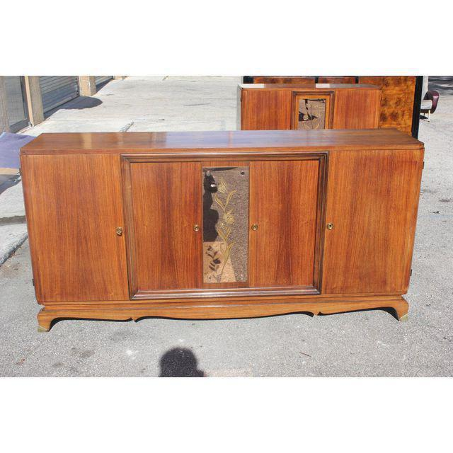 Brown 1940s French Art Deco Exotic Rosewood Cut Glass Panel Credenza For Sale - Image 8 of 10