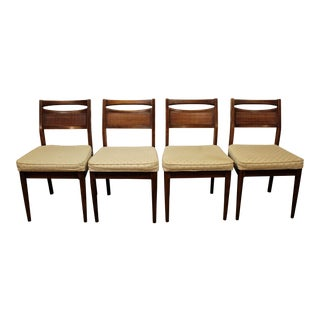 American of Martinsville Mid-Century Modern Caned Walnut Dining Chairs - Set of 4
