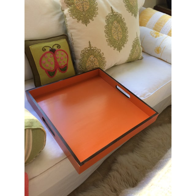 Orange Mid-Century Modern Hermès Inspired Orange Lacquer Tray For Sale - Image 8 of 11