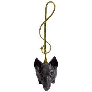 Cast Iron and Brass Fox Doorstop For Sale