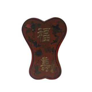 Chinese Distressed Red Lacquer Ribbon Shape Fok Shou Box For Sale