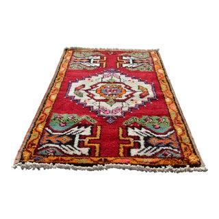 Vintage Turkish Anatolian Carpet Handmade Medalion Rug - 2x3 Ft For Sale