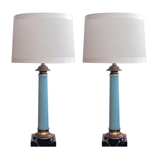 An Elegant and Good Quality Pair of Paul Hanson 1960's Columnar-Form Pale-Blue Glass Lamps For Sale