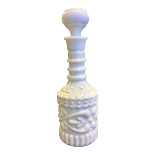 1960s Milk Glass Bottle With Cork Top For Sale