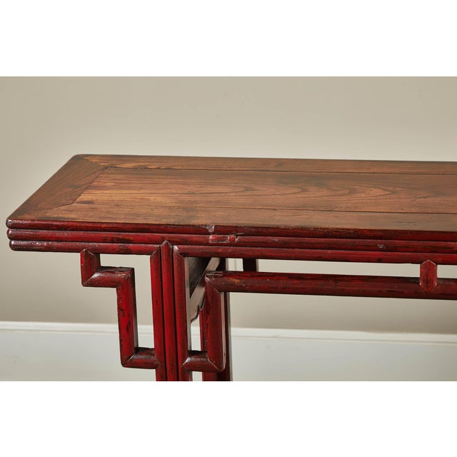 18th C. Chinese Red Lacquer Elm Altar Table For Sale In Los Angeles - Image 6 of 9