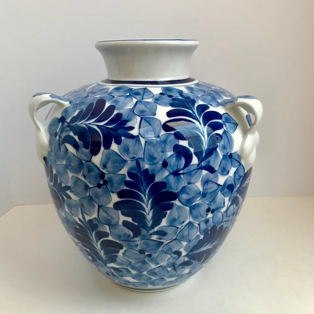 Asian Blue White Porcelain Jarvase Chairish