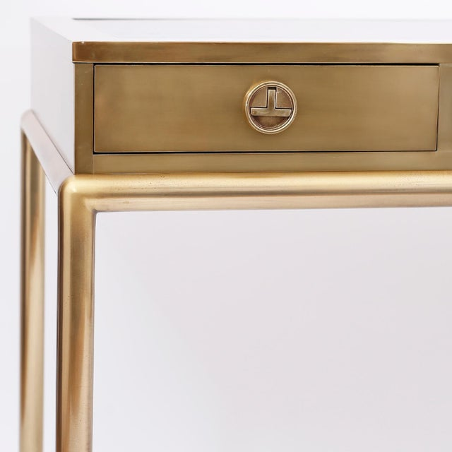 Metal Brass and Leather Mastercraft Desk For Sale - Image 7 of 10