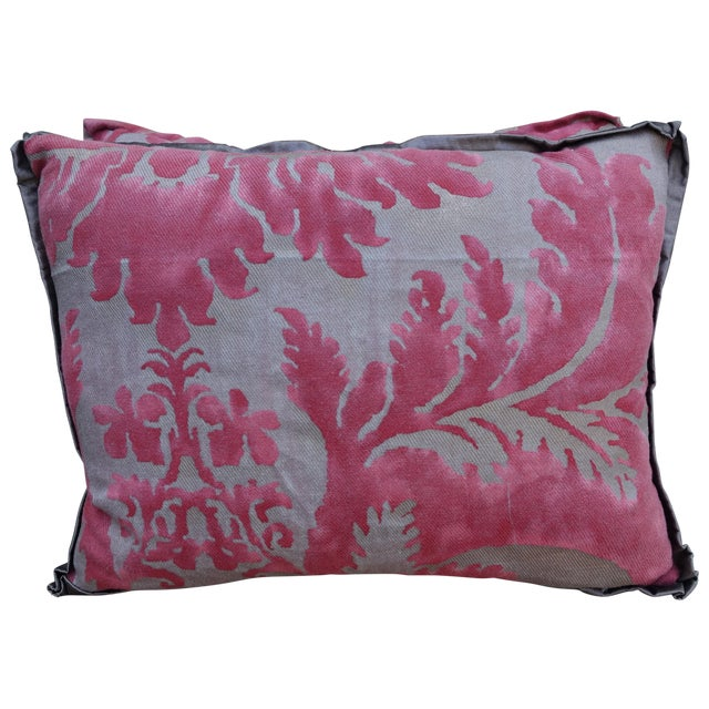 Pink & Silver/Gold Fortuny Pillow - A Pair - Image 1 of 4