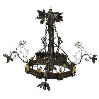 Naos Forge Sculpted & Forged Iron Medieval Gothic Castle Leaping Deer Chandelier For Sale
