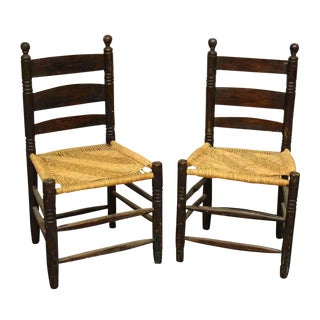 Ladder Back Caned Seat Dining Chairs - a Pair For Sale