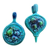 Image of Lefton Blue Fruit Wall Hangings - Set of 2 For Sale
