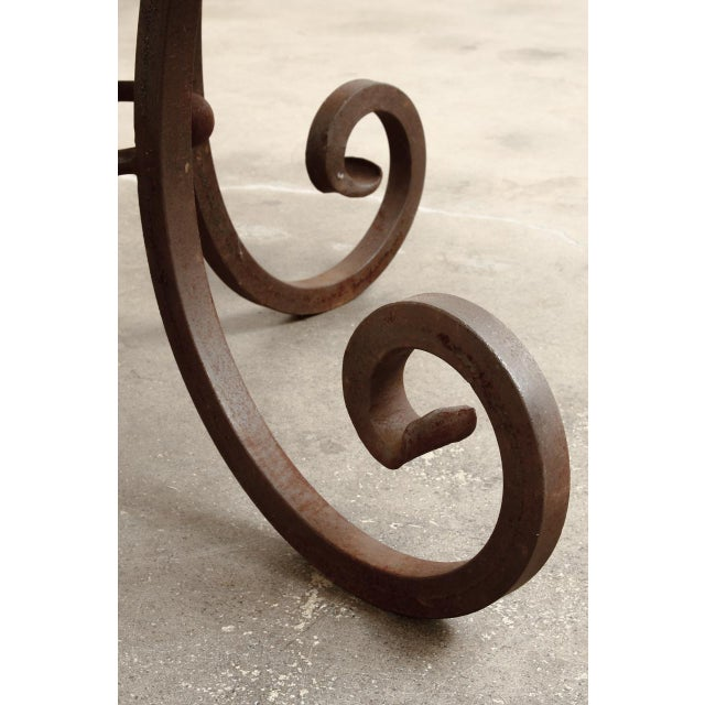 Wrought Iron and Copper Round Dining Table For Sale - Image 9 of 12