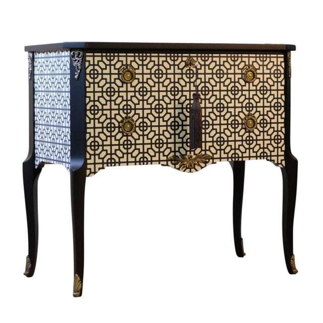 Gustavian bureau with a marble slab renovated to the highest stand in a matte black and white Art Deco pattern. Fine...