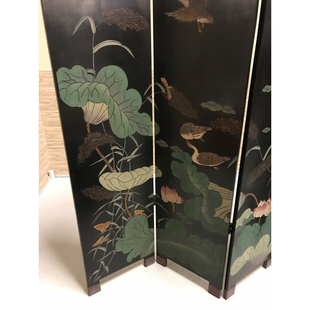 Vintage Chinese Lacquer Coromandel 4-Panel Screen For Sale - Image 11 of 11