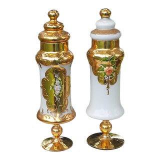 Early 20th Century Glass Gilded Bohemian Czech Canisters With Hand-Painted Flowers - A Pair For Sale