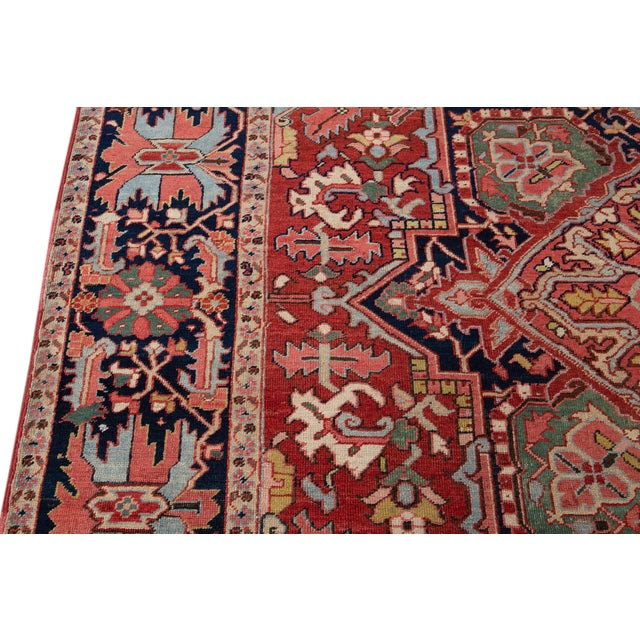 Early 20th Century Antique Persian Heriz Wool Rug For Sale - Image 9 of 13