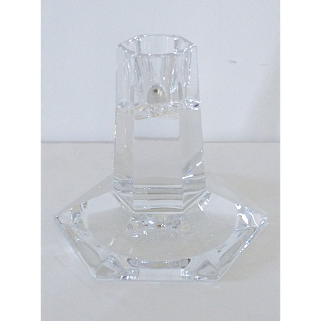 A single Frank Lloyd Wright cut crystal candlestick by Tiffany and Co. The base has the pattern with the date '1986' along...