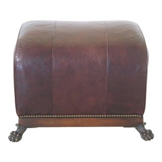 1990s Vintage Theodore Alexander Leather Ottoman For Sale