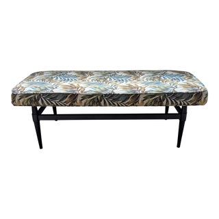 Tropical Leaves Upholstered Floating Bench For Sale