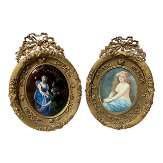 Antique French Miniatures: Edouard Bisson (1856-1939) in Gilded Bronze - a Pair For Sale