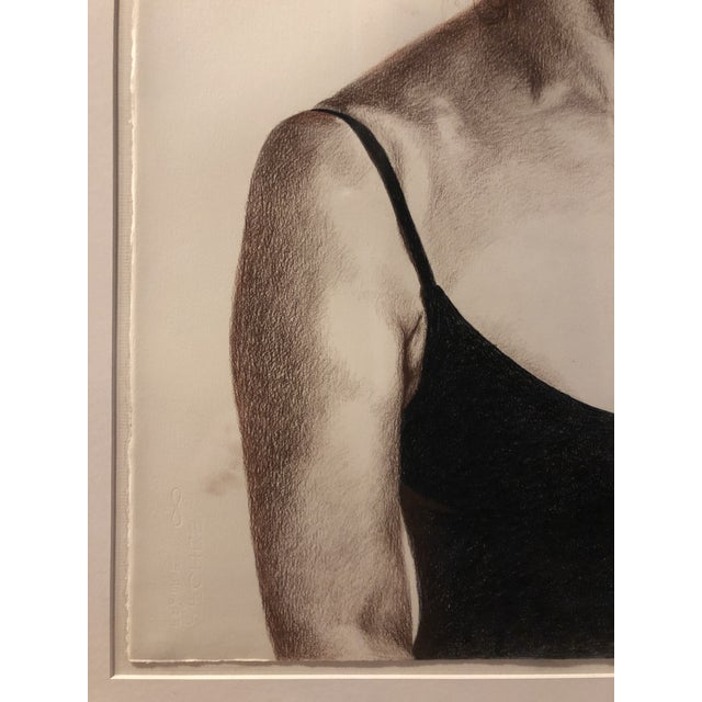 1980s 1981 Jill Cannady Self-Portrait Charcoal Drawing For Sale - Image 5 of 8