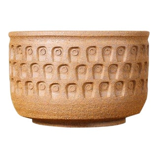 Christian Boehr Ceramic Stoneware Planter — Keyhole Pattern — Raw Exterior | Glazed Interior — P17 For Sale