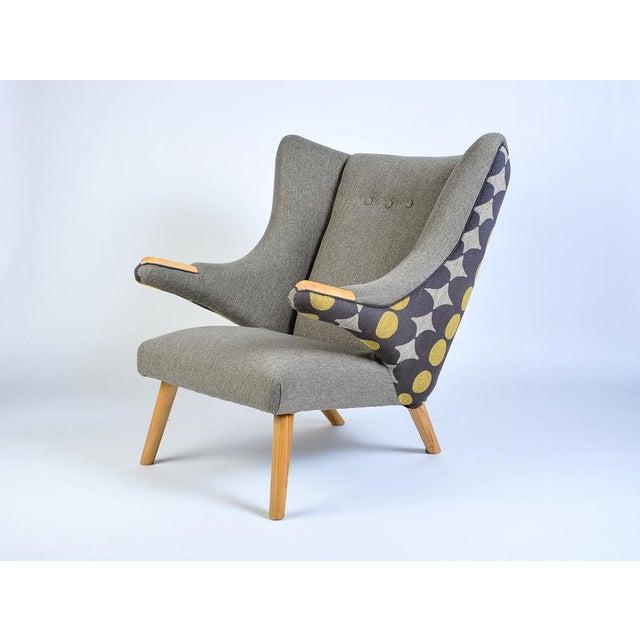 Mid-Century Modern Mid-Century Modern Wegner Arm Chair & Ottoman For Sale - Image 3 of 8