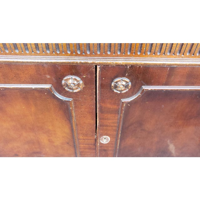 Traditional Mahogany 2 Part Dining Room Breakfront China Cabinet C1930s For Sale - Image 4 of 13