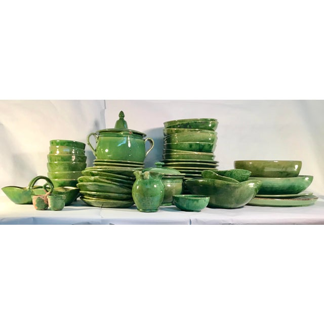 Ceramic Vintage French Green Ceramic Square Bowl For Sale - Image 7 of 8