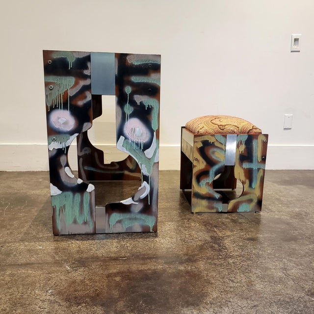 Postmodern Graffitied Artist Painted 1970s Desk or Vanity - a Pair For Sale - Image 3 of 9