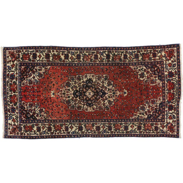 Islamic Vintage Mid-Century Jacobean Style Persian Mahal Gallery Rug - 5′1″ × 9′11″ For Sale - Image 3 of 5