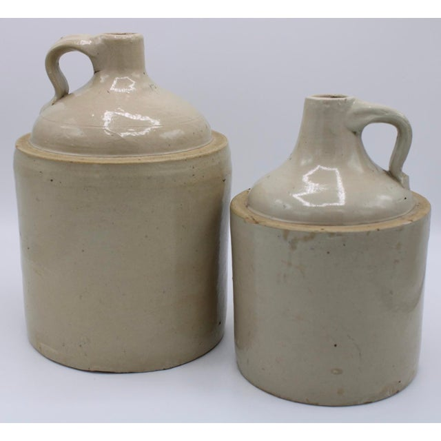 Antique Stoneware Farmhouse Crock Jugs - a Pair For Sale - Image 9 of 10