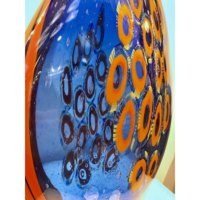 Monumental Italian art glass vase, one of a kind tall Work of Art signed by Davide Dona, in blown Murano glass. The body...