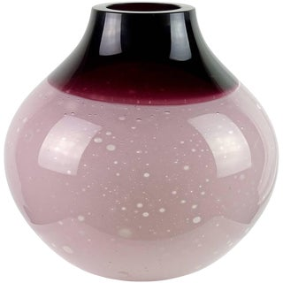 Barbini Murano Purple Incalmo Rim Moonscape Italian Art Glass Flower Vase For Sale