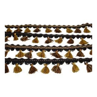 Kravet Ta5188 in 84 Jet Black Brass Gold Tassel Fringe Trim - 13-1/8y For Sale