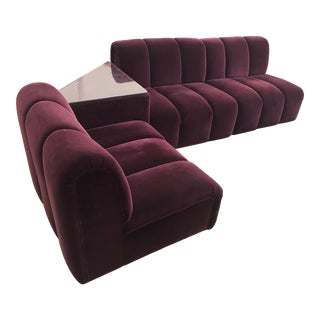 Mid-Century Modern Italia Italy Burgundy Velvet Modular Channel Sofa Sectional For Sale