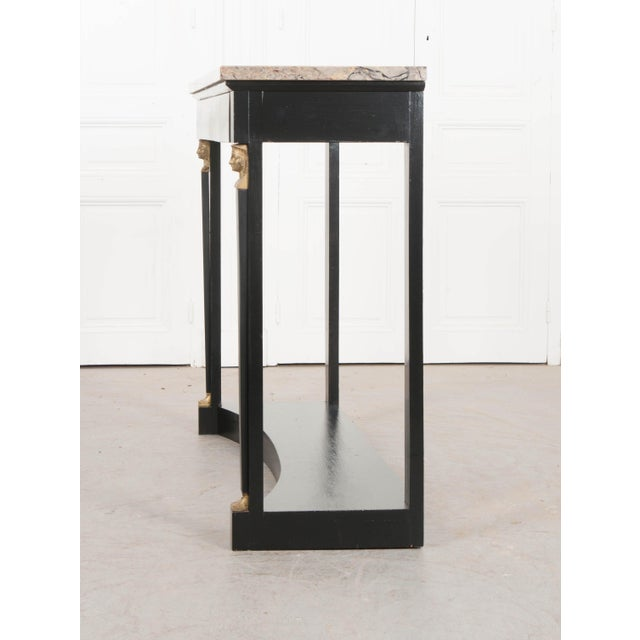 19th Century French 19th Century Empire Style Marble Top Ebonized Console For Sale - Image 5 of 12