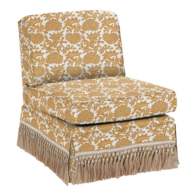 LuRu Home for Casa Cosima Skirted Slipper Chair, Flower, Cumin For Sale