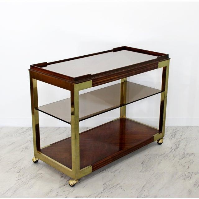 Drexel Heritage 1960s Vintage Drexel Heritage Brass Wood 2-Tier Bar Cart For Sale - Image 4 of 12