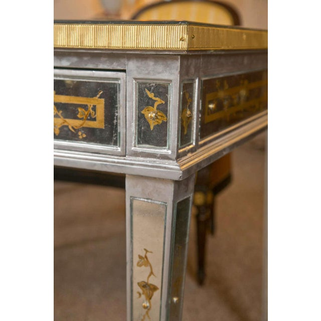French Louis XVI Style Verre Eglomise Desk - Image 3 of 9