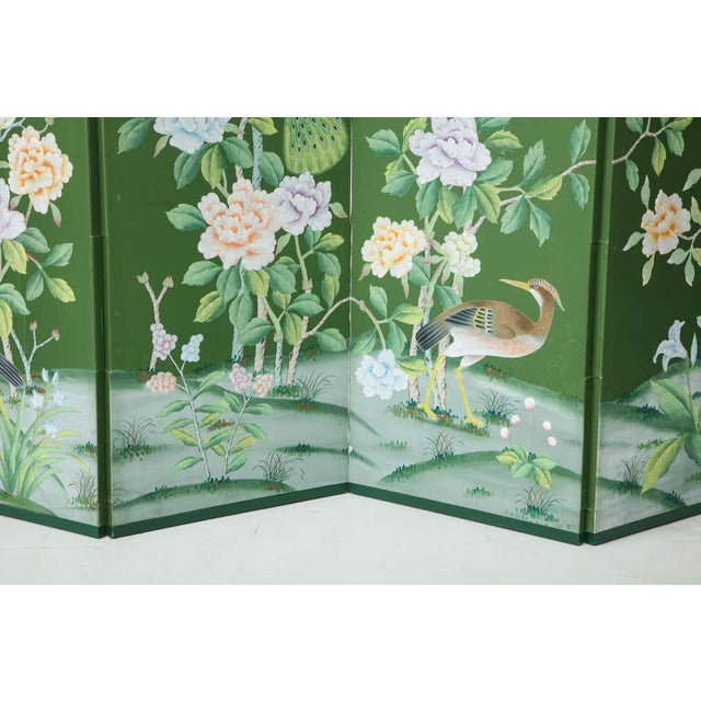 Green Chinoiserie Six-Panel Hand-Decorated Screen For Sale - Image 9 of 11