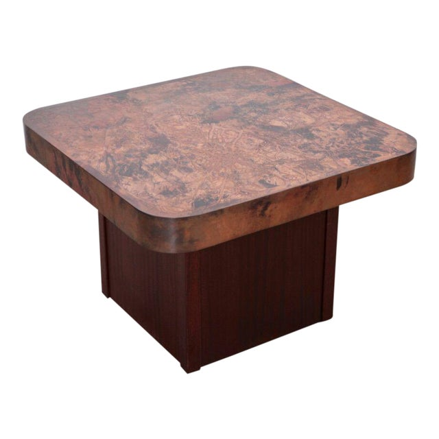 Rare Copper and Mahogany Coffee or Side Table by Bernhard Rohne For Sale