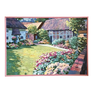 Howard Behrens English Garden Embellished Serigraph on Canvas For Sale