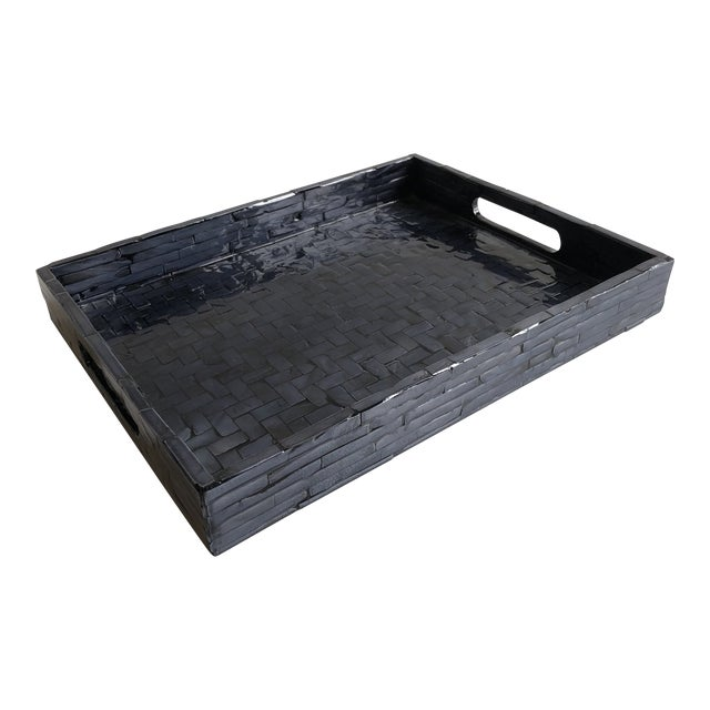 Contemporary Tozai Home Small Midnight Blue Criss Cross Tray For Sale