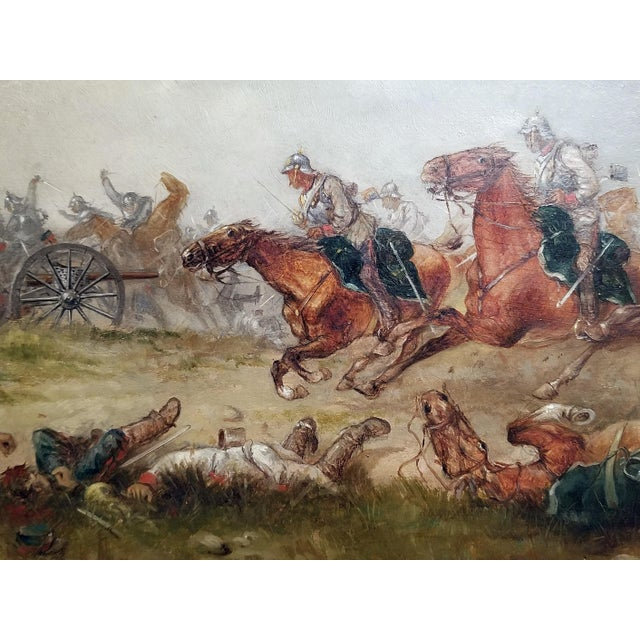 1897 Franco Prussian War Oil Painting on Board by G. Thorsbaek For Sale In Dallas - Image 6 of 8