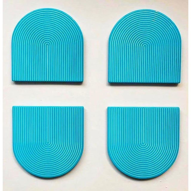 Art Deco Turquoise & White Lacquer Coasters - Set of 4 For Sale - Image 3 of 3
