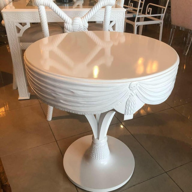 Chippendale Vintage Grosfeld House White Lacquered Tassel Wood Entry Center Side Table For Sale - Image 3 of 9