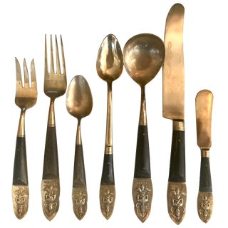 Brass and Rosewood Thailand Large Flatware Set For Sale