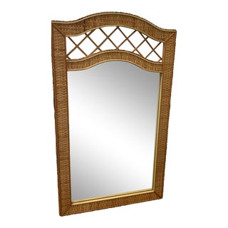 Boho Chic Natural Color Wicker Woven Mirror With Braided Edge For Sale